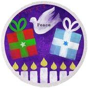 Christmas And Hanukkah Peace Round Beach Towel