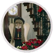 Christmas Angel Round Beach Towel
