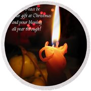 Christmas Candle Peace Greeting  Round Beach Towel