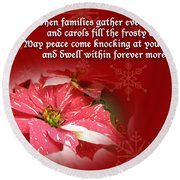Christmas Card - Red And White Poinsettia Round Beach Towel