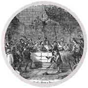 Christmas Feast, 1838 Round Beach Towel
