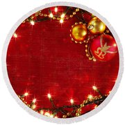 Christmas Frame Round Beach Towel