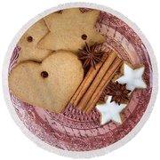 Christmas Gingerbread Round Beach Towel
