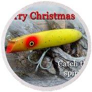 Christmas Greeting Card - Gibbs Darter Vintage Fishing Lure Round Beach Towel