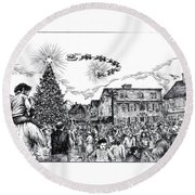 Christmas In Dock Square Rockport Round Beach Towel