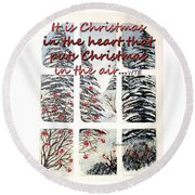 Christmas In The Heart Round Beach Towel