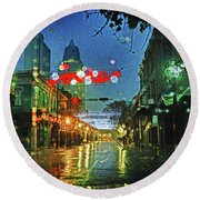 Lights At 3 Georges In Mobile Al Round Beach Towel
