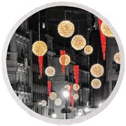 Christmas Lights In Alicante Round Beach Towel