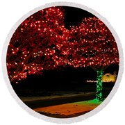 Christmas Lights Red And Green Round Beach Towel