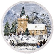 Christmas Morning, 1837 Round Beach Towel