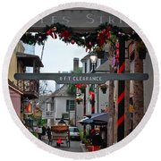 Christmas On Aviles Street Round Beach Towel by DigiArt Diaries by Vicky B Fuller