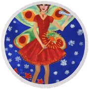 Christmas Pudding Fairy Round Beach Towel