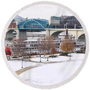 Christmas Snow Round Beach Towel by Tom and Pat Cory