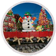 Christmas Snowman On Rails Round Beach Towel