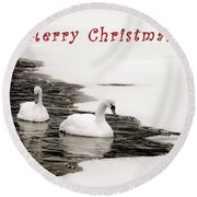 Christmas Swans 2367 Round Beach Towel