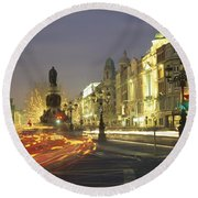 Christmas Traffic On Oconnell Street Round Beach Towel