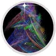 Christmas Tree 49b Star Round Beach Towel