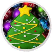 Christmas Tree Cookie With Ornaments Round Beach Towel