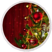 Christmas Tree Detail Round Beach Towel