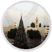 Christmas Tree In Manger Square Bethlehem Round Beach Towel