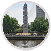 Christopher Columbus Memorial - Philadelphia Round Beach Towel
