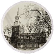 Christs Church Philadelphia In Sepia Round Beach Towel