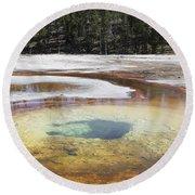 Chromatic Pool Hot Spring, Upper Geyser Round Beach Towel