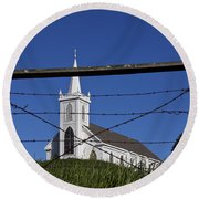 Church And Barbed Wire Round Beach Towel