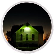 Church At Sunset Round Beach Towel