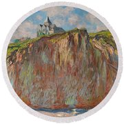 Church At Varengeville Morning Effect Round Beach Towel