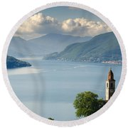 Church Close To An Alpine Lake Round Beach Towel