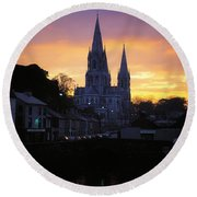 Church In A Town, Ireland Round Beach Towel