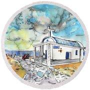 Church In Cape Gkreko In Cyprus Round Beach Towel