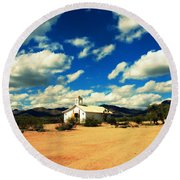 Church In Old Tuscon Arizona Round Beach Towel