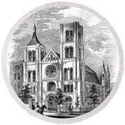 Church Of The Puritans Round Beach Towel