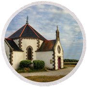 Church Off The Brittany Coast Round Beach Towel