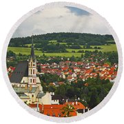 Church Spire In The Old Town Cesky Round Beach Towel