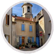 Church Steeple In Provence Round Beach Towel