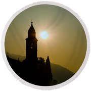 Church Tower Round Beach Towel