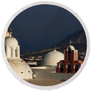 Churches In Fira Greece Round Beach Towel