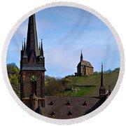 Churches Of Lorchhausen - Color Round Beach Towel