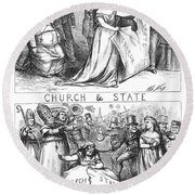 Church/state Cartoon, 1870 Round Beach Towel
