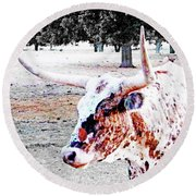 Cibolo Ranch Steer Round Beach Towel