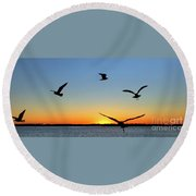Circle Meeting At Sunrise Round Beach Towel by Benanne Stiens