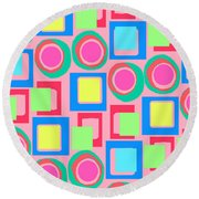 Circles And Squares Round Beach Towel
