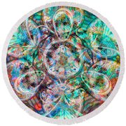 Circles Of Life Round Beach Towel by Mo T