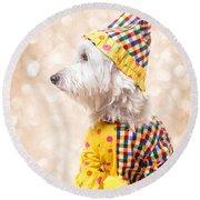 Circus Clown Dog Round Beach Towel