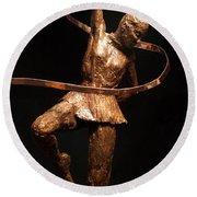 Citius Altius Fortius Olympic Art Gymnast Over Black Round Beach Towel