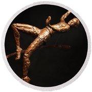 Citius Altius Fortius Olympic Art High Jumper On Black Round Beach Towel