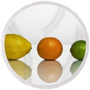 Citrus Fruits Round Beach Towel
